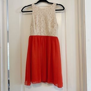 Dresses & Skirts - Cream Lace and Coral Dress